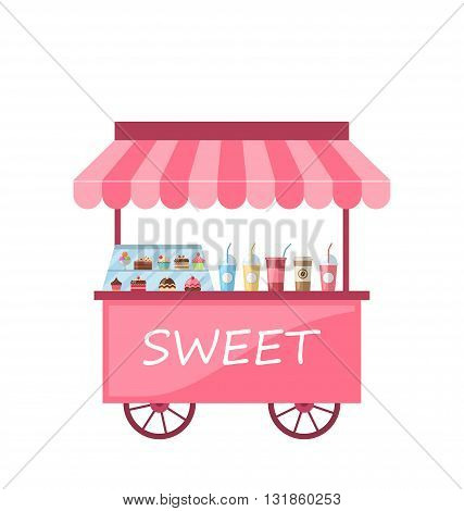 Illustration Icon of Kiosk with Cakes, Milkshakes. Sweet Cart Isolated on White Background - Vector
