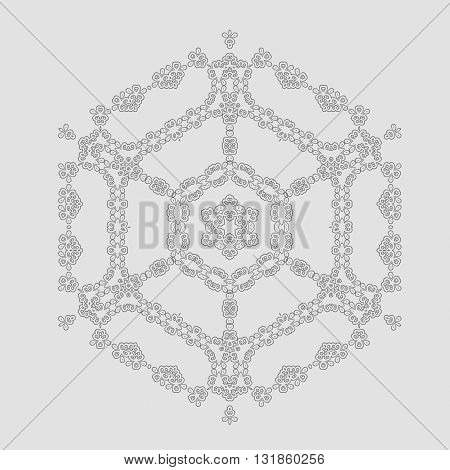 Round Geometric Ornament Isolated on Grey Background