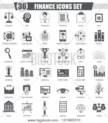 Vector Finance black icon set. Dark grey classic icon design for web