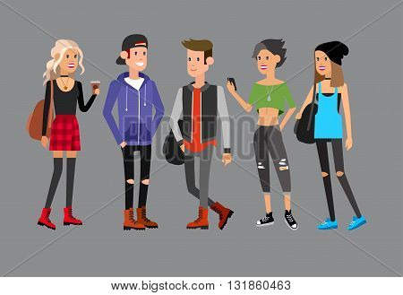 Detailed character students, student Lifestyle, team of young people in street clothes style. Illustration of character student. Vector flat student go to study