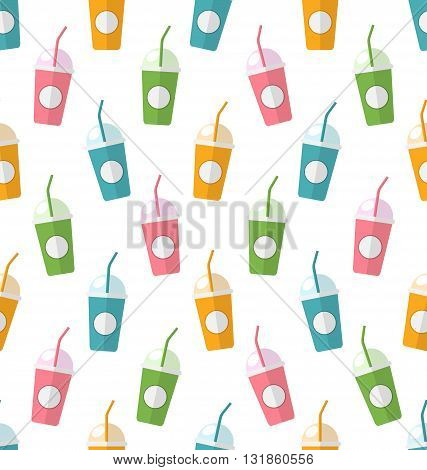 Illustration Seamless Pattern with Colorful Set of Milkshakes with Straws - Vector