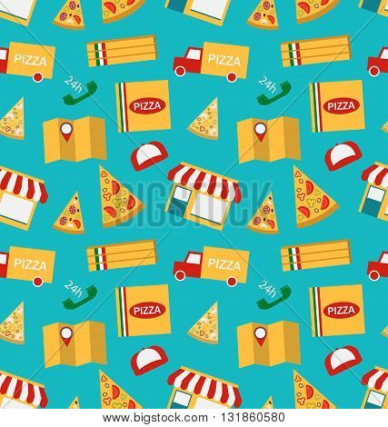 Illustration Seamless Pattern with Slices of Pizza and Colorful Icons Service of Delivery of Pizza - Vector
