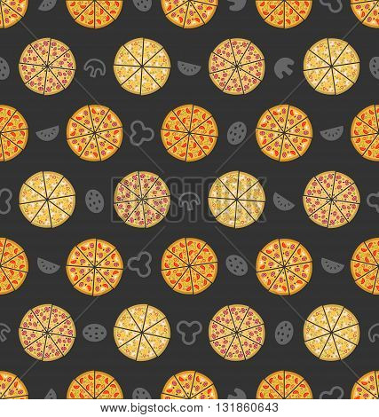 Illustration Seamless Pattern with Set of Different Pizza. Colorful Food Wallpaper - Vector