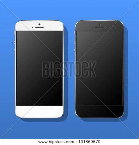 Realistic white and black smartphone on a blue background. Vector illustration