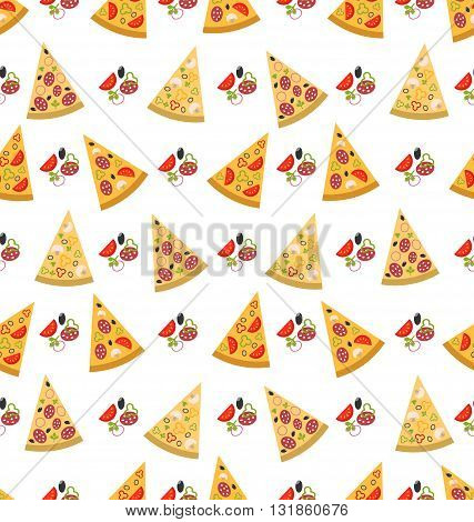 Illustration Seamless Pattern with Slices of Pizza. Colorful Food Wallpaper - Vector