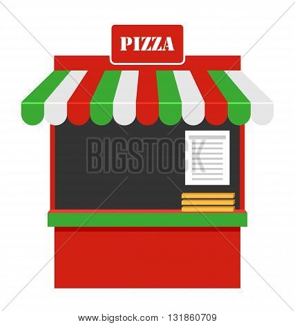 Illustration Showcase of Sale of Pizza, Stall, Marketplace Isolated on White Background - Vector