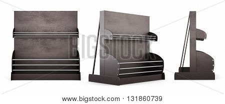 Set of shelves for bread and bakery products isolated on white background. 3d rendering.