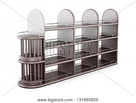 Wooden shelving for bottles isolated on white background. 3d rendering.