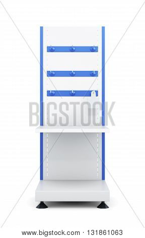 Stand with shelves and hooks to store isolated on a white background. Front view. Slat-board display with peg-hangers. 3d rendering