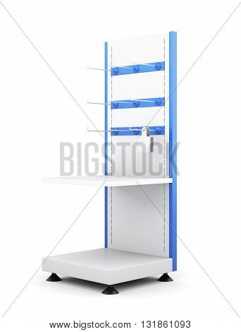 Rack with shelves and hooks for product isolated on a white background. 3d rendering.