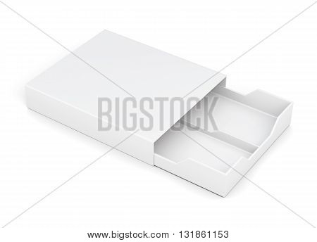 Open drawer box isolated on white background. Laminated cardboard. Plastic box. 3d rendering