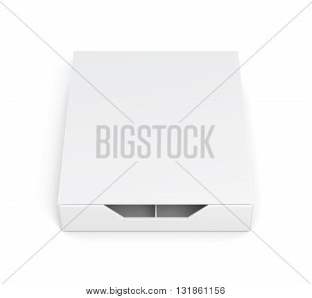 Closed box isolated on white background. Laminated cardboard. Plastic box. Front view. 3d rendering