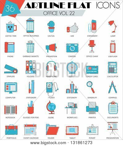 Vector Office ultra modern outline artline flat line icons for web and apps