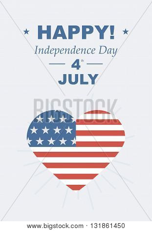 Feast day of American Independence. Retro card with congratulations. Vector illustrations love of country USA.