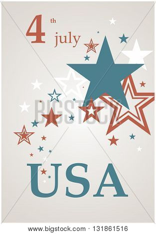 Beautiful card for Independence Day. July 4th Celebration in the United States. Bright retro poster business.