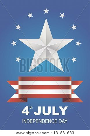 Vector illustration for Independence Day. Beautiful card for 4th of July. July 4th Celebration in the United States. Bright poster silver star on a blue background.