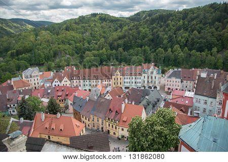 LOKET, CZECH REPUBLIC - 25.06.2016: Old medieval town of Loket Czech Republic