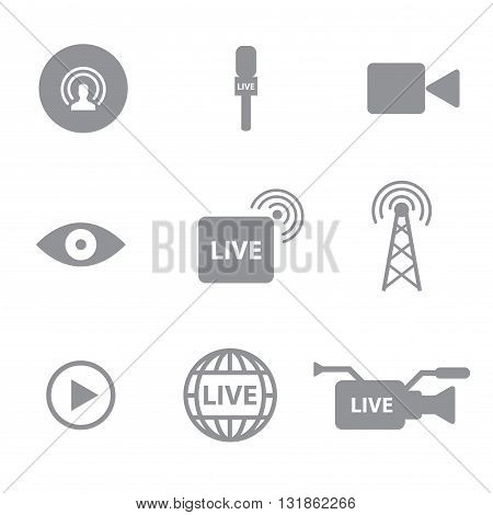 Set of live technology icons concept on white background