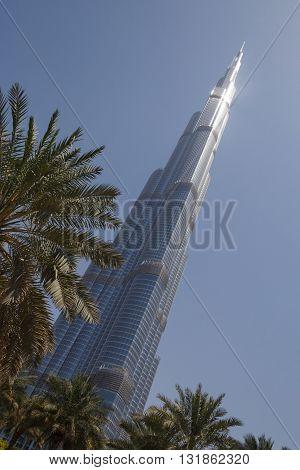 DUBAI, UAE - MAY 14, 2016: Burj Khalifa tower in Dubai