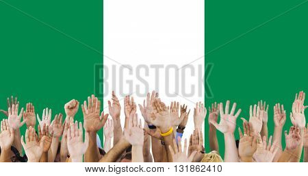 Nigeria National Flag Group of People Concept
