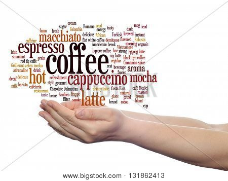 Concept conceptual creative hot coffee, cappuccino or espresso abstract word cloud in hand isolated on background