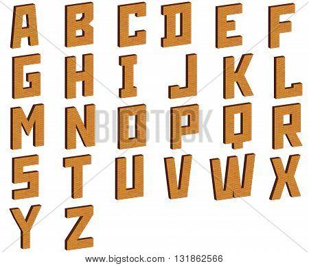 The English alphabet on a white background. 3D illustration