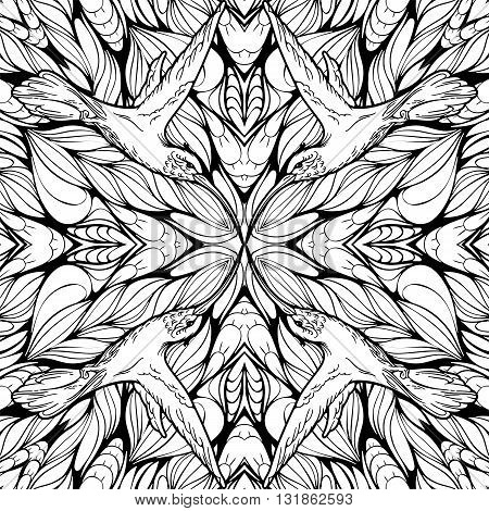 Seamless pattern with abstract flowers and hummingbirds. Adult coloring page.