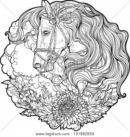 Portrait of a horse with clouds and flowers. Coloring page.