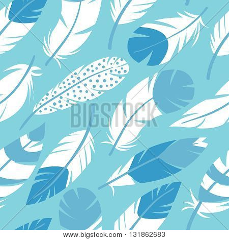 Abstract vector seamless pattern with bird feathers in blue colors