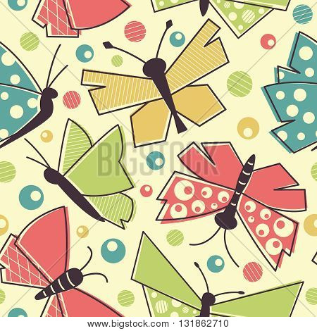 Colorful vector flying butterflies seamless pattern in vintage style textile