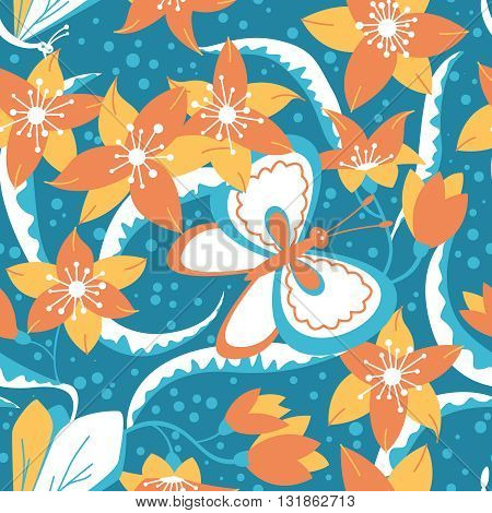 Floral vector seamless pattern with cute buterfly and dragonfly