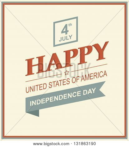 Vector illustration of US Day of Independence. Holiday 4th of July. Retro styled symbol of freedom with text.