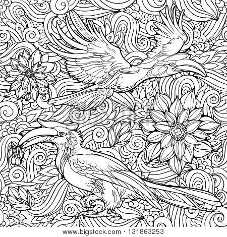 Coloring page with seamless pattern of flowers and parrots.