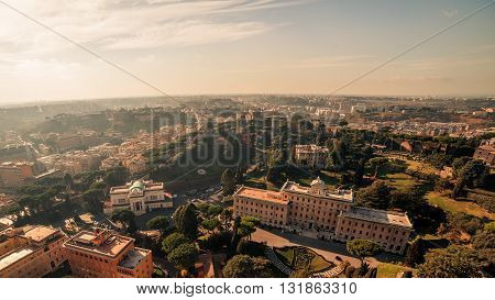 Vatican City State and Rome, Italy: Aerial View of The Vatican Gardens