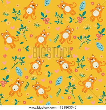 Orange cat and flowers, seamless pattern on yellow background.
