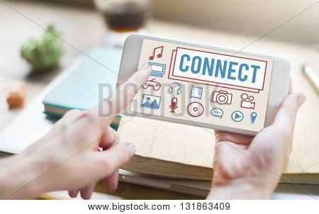 Connect Multimedia Electronics Devices Concept