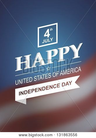 Retro printing card for Independence Day of America. Vector illustration 10. Holiday of 4th of July. Retro styled symbol of freedom and independence with text and blurred background.