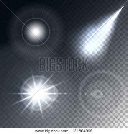 Glowing lights effect, flare, explosion and stars. Special effect isolated on transparent background. Vector.