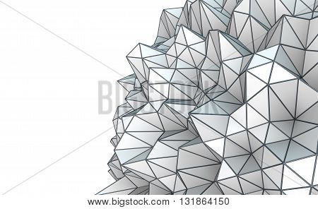 3D Illustration - Abstract low poly shape isolated on white background