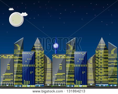 Day city landscape. Skyscrapers against blue sky with the sun and small clouds. Flat vector illustration