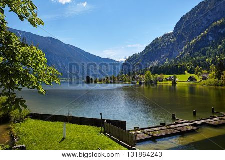 Alpine lake and mountain landscape