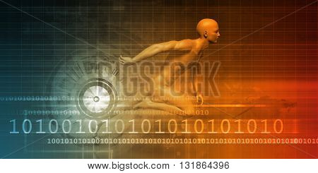 Dynamic Abstract Background and High Speed Concept Art 3D Illustration Render