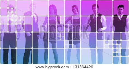 Friendly Business People Abstract Background as Concept 3D Illustration Render