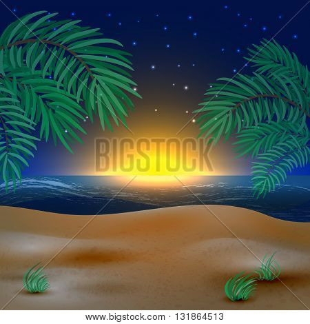 Sunset view in beach with palm tree. Vector illustration.