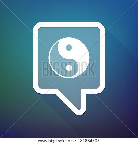 Long Shadow Tooltip Icon On A Gradient Background  With A Ying Yang