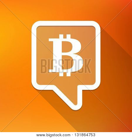 Long Shadow Tooltip Icon On A Gradient Background  With A Bit Coin Sign