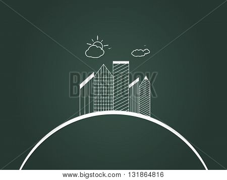 Vector illustration, logo of the city. Business center with skyscrapers on the planet earth.  Sun and clouds. Contour,  sketch.