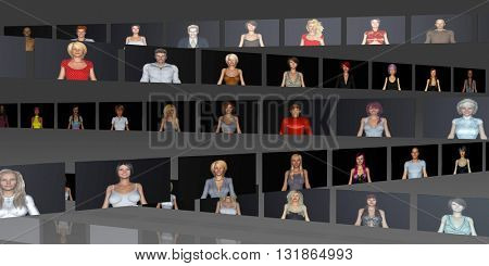 Business People Communicating With Each Other Online 3D Illustration Render