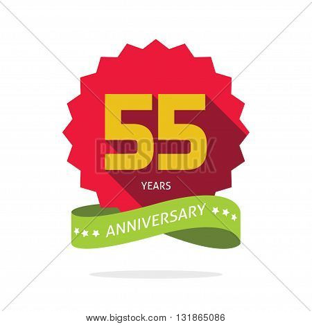 55 years anniversary vector label logo, shadow on star, number 55 five, 55th years anniversary icon. Fifty five birthday party symbol. Fifty fifth promotion sale sticker ribbon, poster, emblem