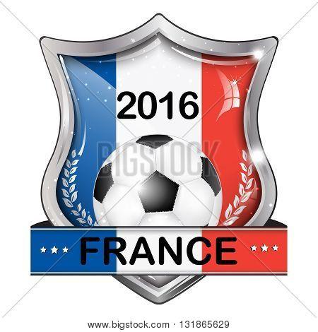 Euro France 2016 icon elegant shiny icon / button / label with soccer ball, vector design.